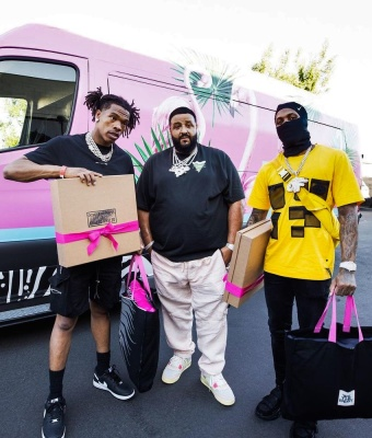 Lil Baby Wearing A 1017 Alyx 9sm T Shirt With Amiri Shorts And Nike X Cdg X Supreme Air Force 1s
