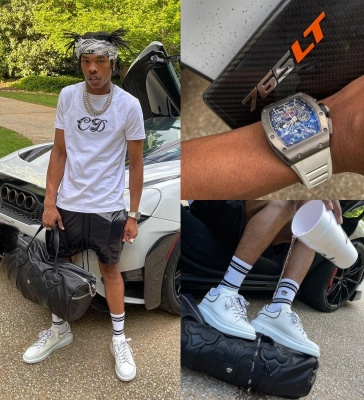 Lil Baby Wearing A Alexander Mcqueen White Skull Scarf And Socks And Sneakers With A Dior X Kenny Scharf T Shirt Richard Mille Watch And Amiri Shorts