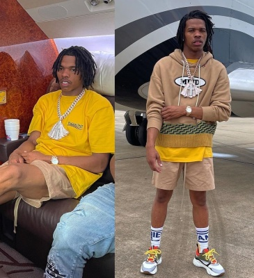 Lil Baby Wearing A Palm Angels X Missoni Hoodie With A Balenciaga Tee Brown Shorts And Dior Sneakers