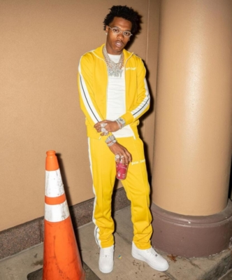 Lil Baby Wearing A Yellow Palm Angels Track Suit In Rochester Ny