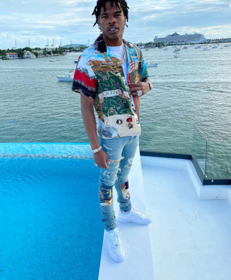 Lil Baby Wearing Amiri Souvenier Shirt With Amiri Patchwork Jeans