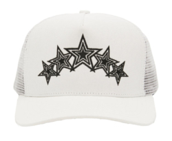 Lil Baby Wearing An Amiri White Five Star Embroidered Trucker Hat