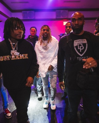 Lil Durk Wearing A Dior White Camo Anorak Jacket With Matching B22s