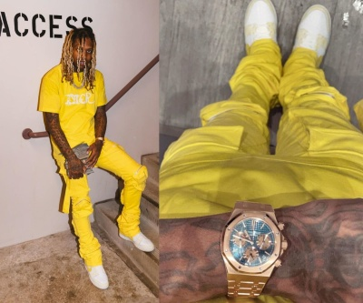 Lil Durk Wearing A Dior X Peter Doig Yellow Tee With An Audemars Royal Oak And Nike Dunk Low Sneakers