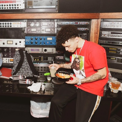 Lil Mosey Hits The Studio In Supreme Tee With Gucci Pants And A Balenciaga Bakcpack
