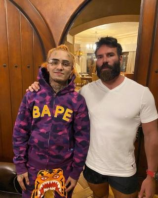 Lil Pump Chills With Dan Bilzarian In A Bape Hoodie And Joggers