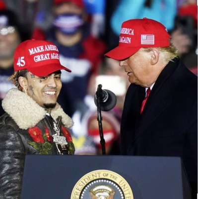 Lil Pump Joins Presidant Trump On Stage At 2020 Rally In A Gucci Leather Jacket And Maga Hat