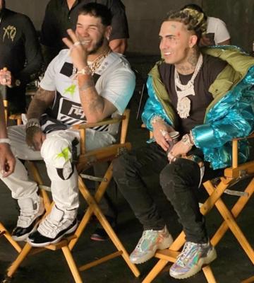 Lil Pump Sits Backstage In A Moncler Metallic Blue Jacket & Margiela Metallic Sneakers