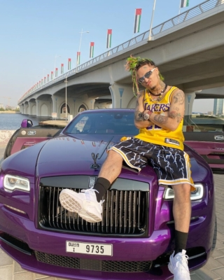 Lil Pump Sitting Atop A Rolls Royce In A Lebron Jersey And Lakers Shorts