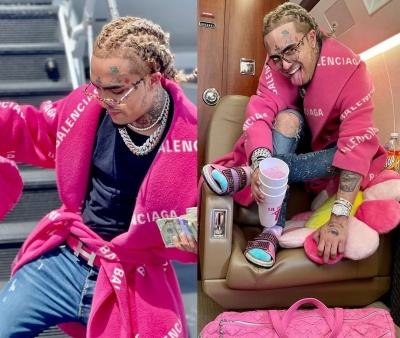 Lil Pump Wearing A Balenciaga Coat With A Hermes Belt Amiri Jeans And Chanel Sandals