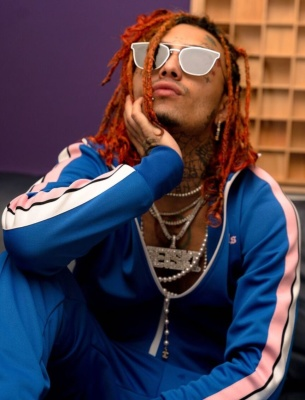 Lil Pump Wearing A Blue And Palm Angels Track Jacket And Trackpants