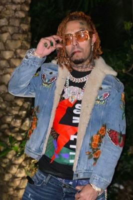 Lil Pump Wearing Tom Ford Orange Aristotle Sunglasses And A Gucci Embroidered Denim Jacket