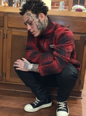 Lil Skies Rocks Rick Owens Denim And Sneakers With A North Face Check Jacket