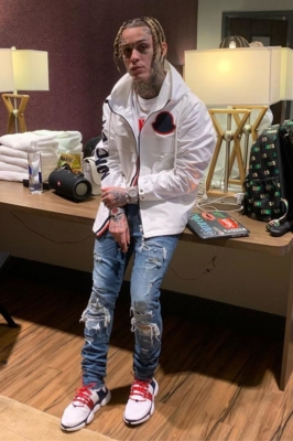 Lil Skies Wearing A Whtie Moncler Jacket White Moncler Sneakers And A Black Moncler Backpack