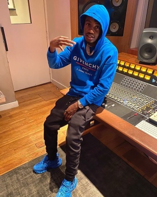 Lil Tjay Hits The Studio In Nyc Wearing A Givenchy Hoodie Moncler Sweats And Balenciaga Track Sneakers