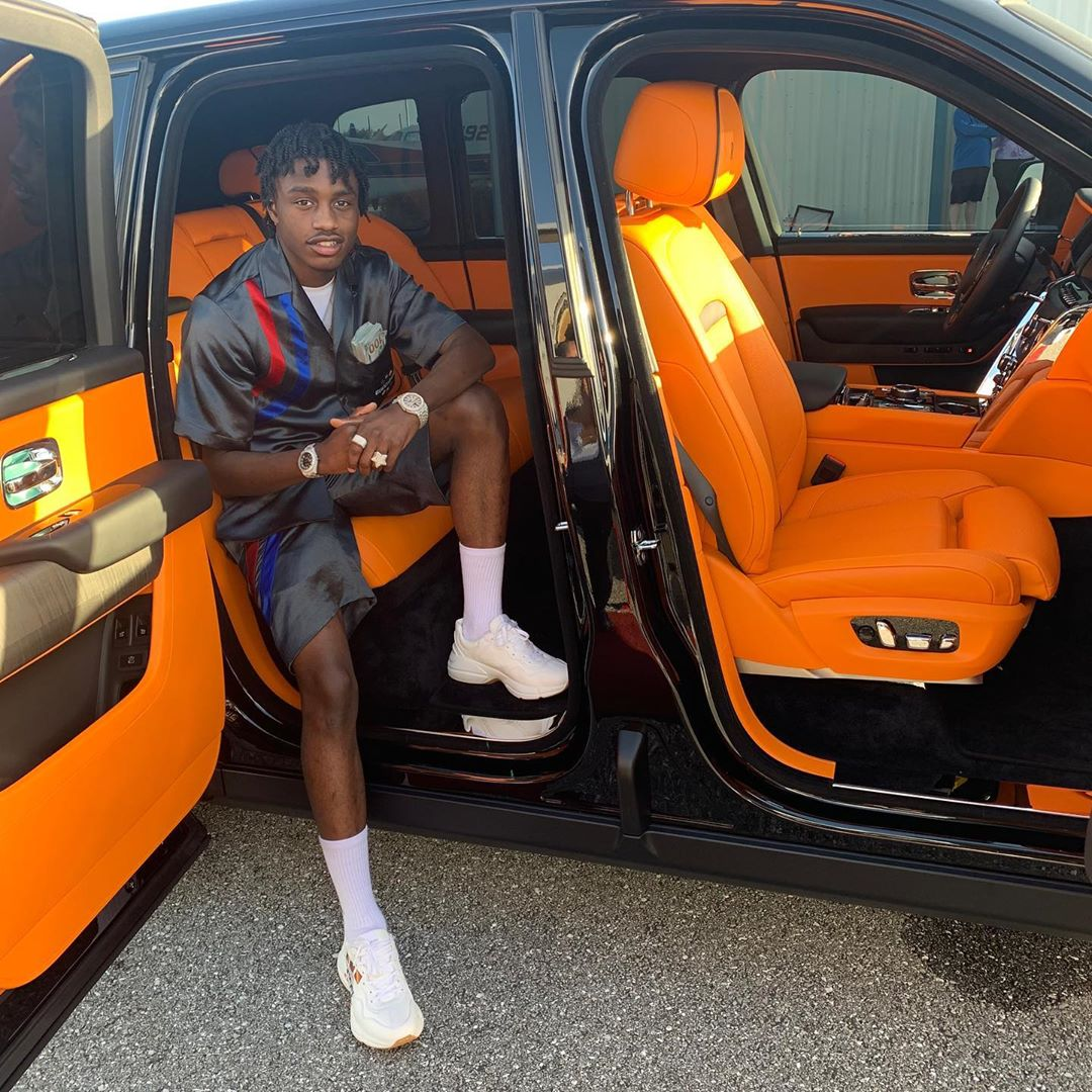 Lil Tjay Sits Inside His Cullinan In Gucci