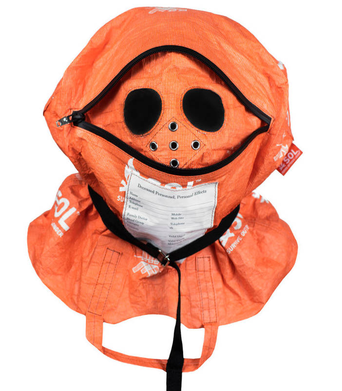 Lil Uzi Vert Orange Face Hask Hood With Black Zippers And White Sol Print