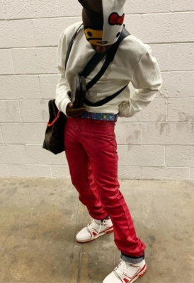 Lil Uzi Vert Wearing Red Paint Jeans With Louis Vuitton Sneakers Belt Sweatshirt And Bags