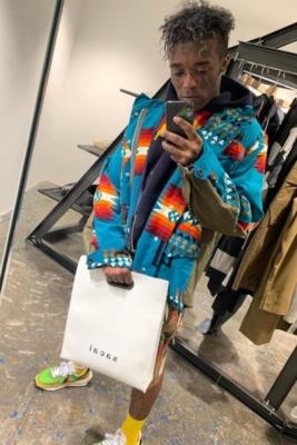 Lil Uzi Vert Wearinga Sacai Jacket Shorts And Nike X Sacai Sneakers