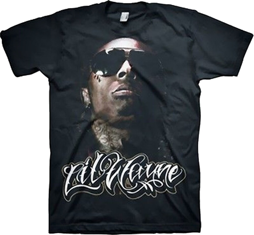 Lil Wayne Portrait Print Black Merch T Shirt