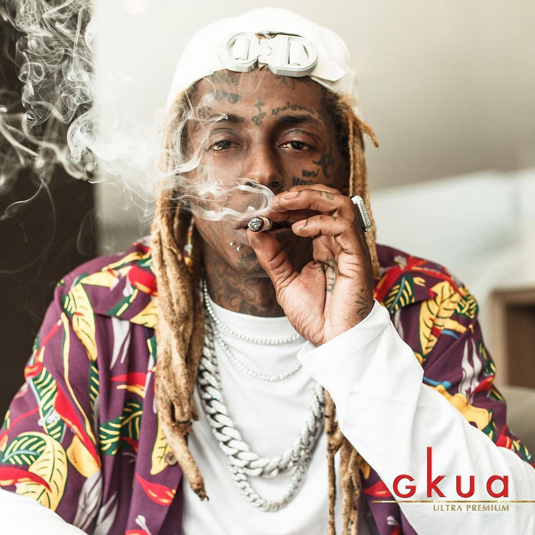 Lil Wayne Promoted Gkua Cannibis In A Wacko Maria Shirt And Dior Cd Buckel Hat