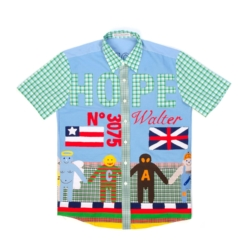 Lil Yachty Blue Plaid Patchwork Shirt With Walter Print