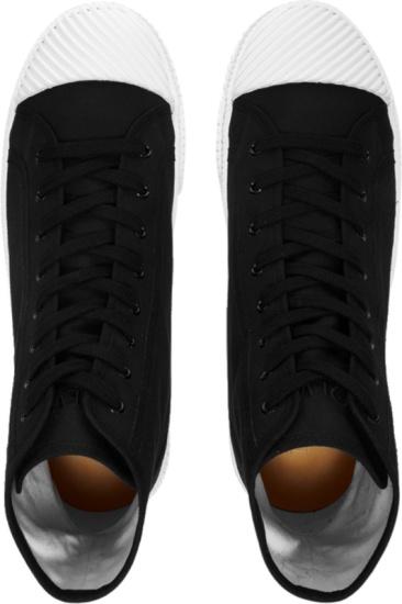 Loewe Black Canvas High Top Logo Patch Sneakers