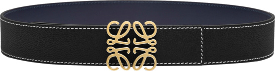 Loewe Black Contrast Stitch And Gold Tone Anagram Buckle Belt