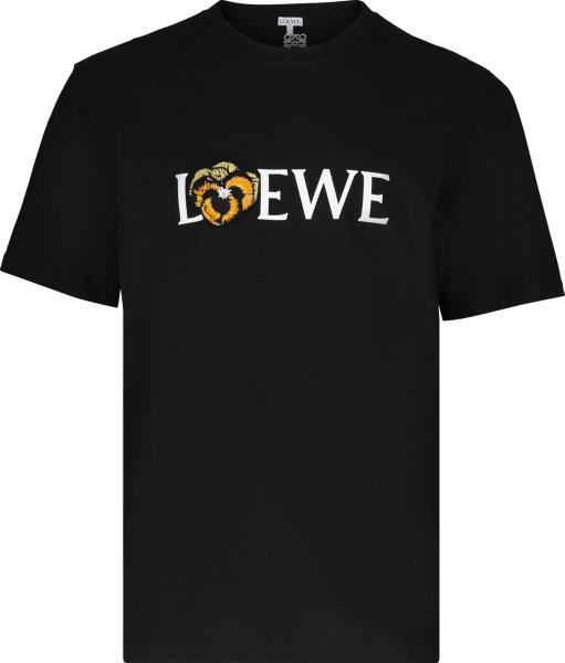 Loewe Black Flower Logo Patch T Shirt