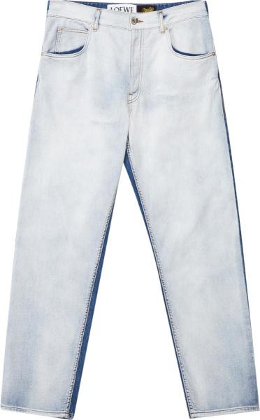 Loewe Suprelight Indigo And Indigo Two Tone Split Jeans