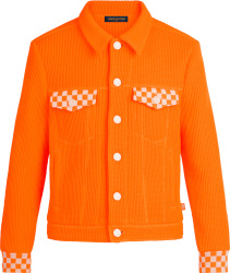 Loius Vuitton Orange Waffle Knit And Damier Trim Jacket