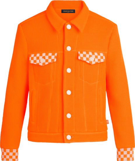 Loius Vuitton Orange Waffle Knit And Damier Trim Jacket