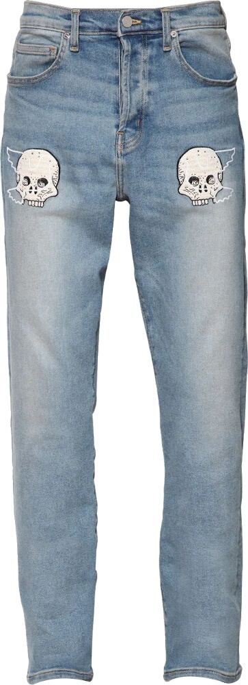 Lost Daze Skull And Dove Embroidered Jeans