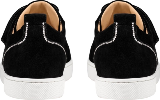 Louboutin Black Suede Sneakers With Crystal Embellished Trim