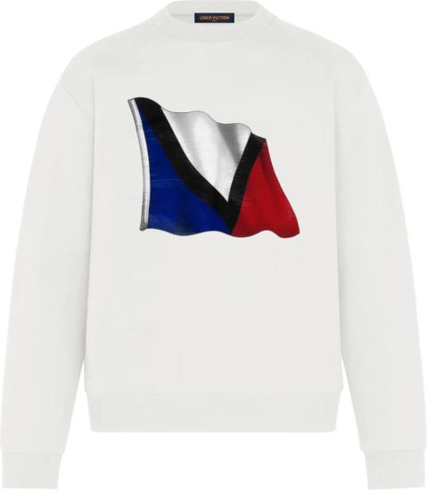 Louis Vuiton White Lv French Flag Sweatshirt