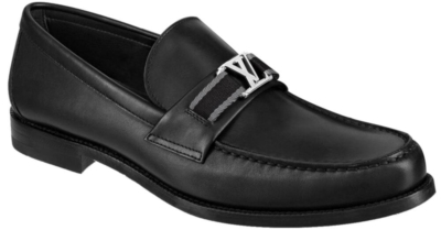 Louis Vuitotn Black Leather Loafers With Fabric Strap And Metal Lv Initiales