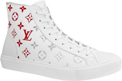 White & Red High-Top 'Tattoo' Sneakers