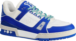 White & Blue 'LV Trainer' Sneakers