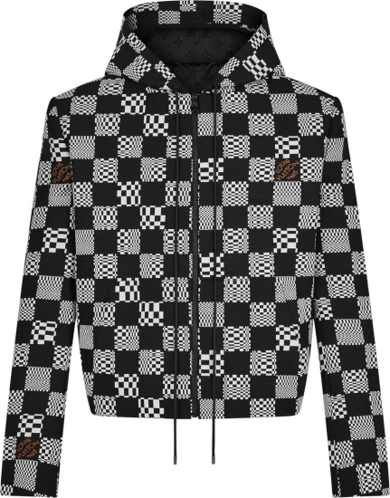 Louis Vuitton Black Checkerboard Constructed Hoodie 1a8pgv