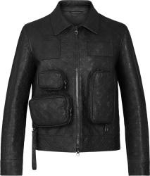 Black Monogram Leather Cargo Jacket