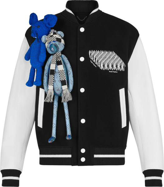 Louis Vuitton Black & White Puppet Varsity Jacket 1a8p1c