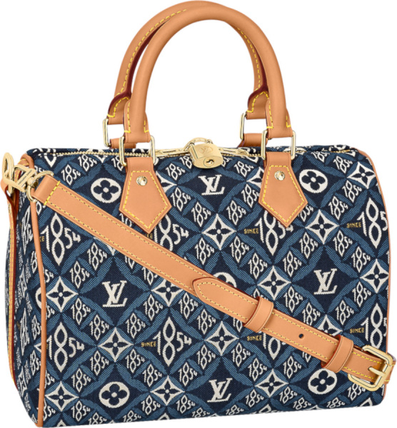Louis Vuitton Blue 1854 Monogram Speedy 25 Bag