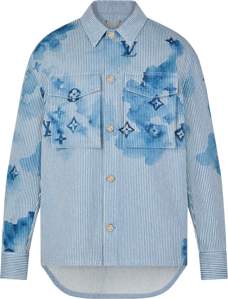 Louis Vuitton Blue Striped Watercolor Monogram Shirt 1a8qye