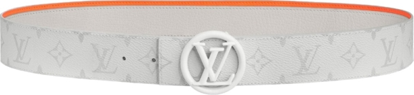 Louis Vuitton Circle 'lv' Buckle White Leather Belt