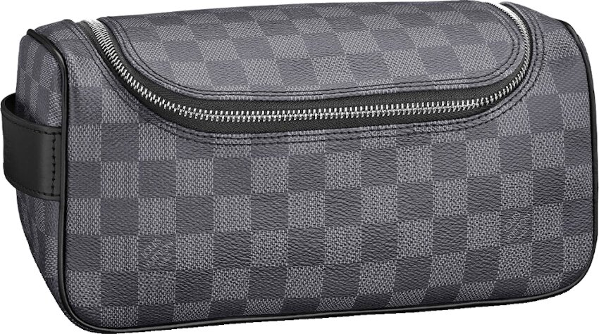 Graphite Check Leather Toiletry Bag