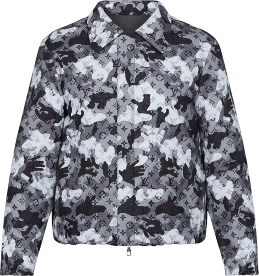 Louis Vuitton Grey Camo Double Face Coaches Jacket 1a7x4f