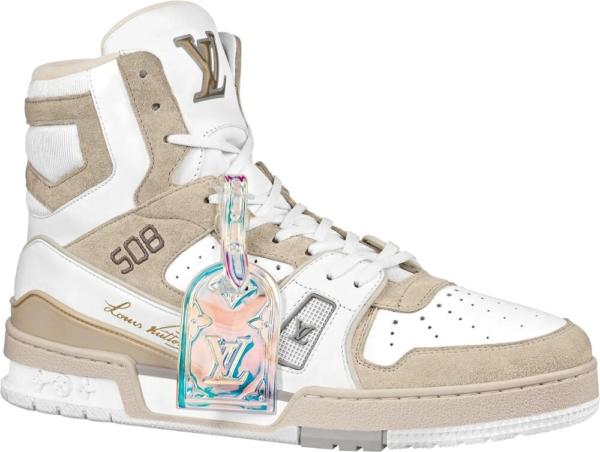Louis Vuitton Lv Trainer Sneaker Boot White Beige