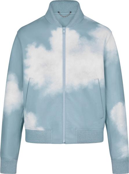 Louis Vuitton Light Blue Leather Clouds Bomber Jacket 1a8amu