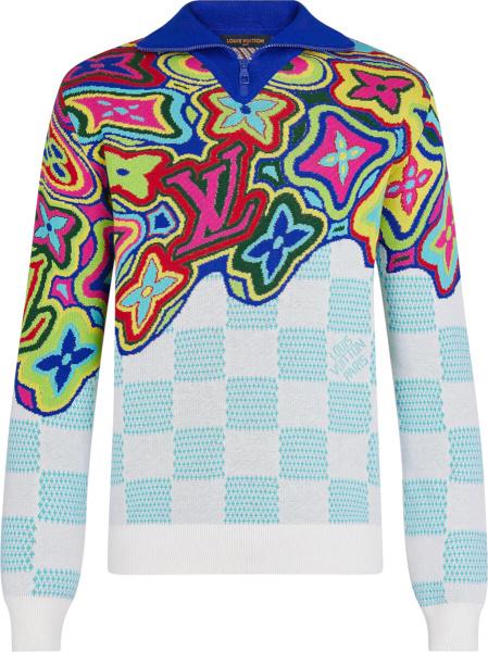 Louis Vuitton Multicolor Distorted Monogram Zip Sweater 1a8p4m
