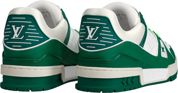 Louis Vuitton White Monogram And Green Lv Trainer Sneakers